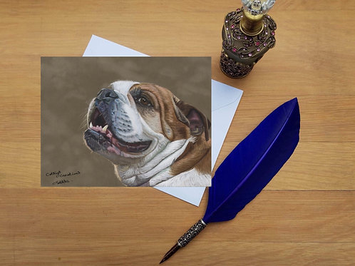 British Bulldog greetings card.