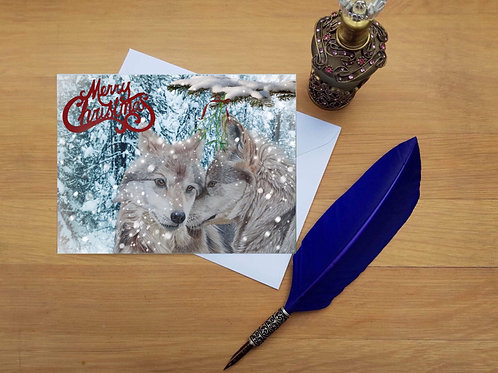 Wolf lovers Christmas card