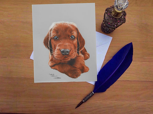 Irish Setter puppy greetings card.