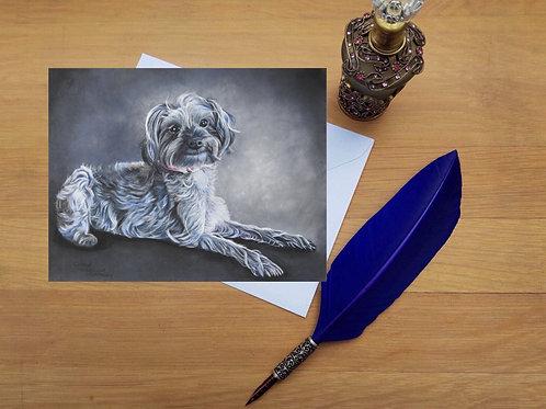 Yorkipoo dog greetings card.