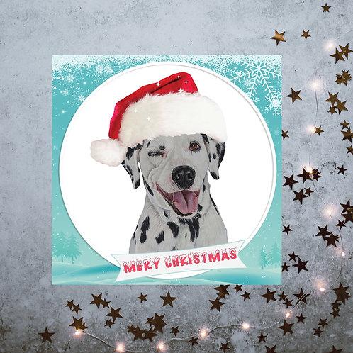 Winking Dalmatian Christmas card