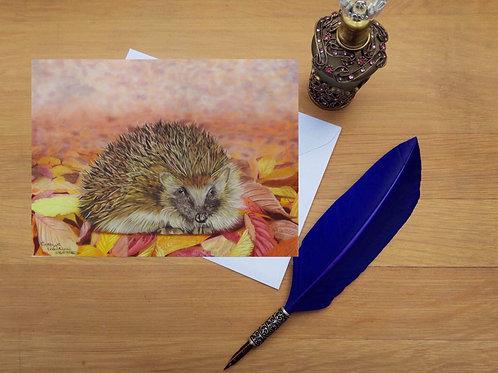 """Hedgehog greetings card. """"Prickly friend"""""""
