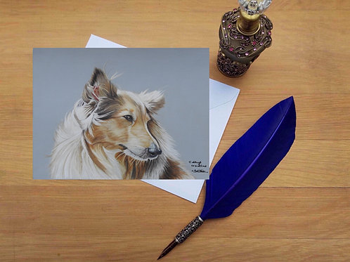 Cassie the Rough Collie greetings card.