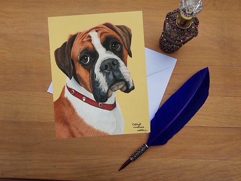 Boxer dog greetings card