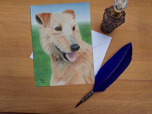 Honey the Lurcher greetings card