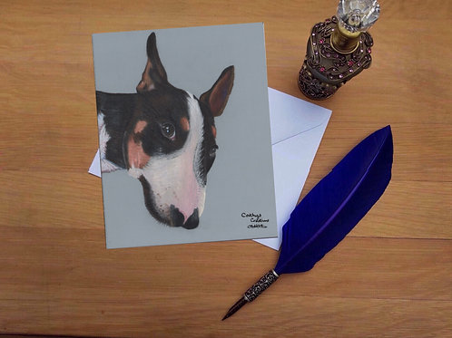 Hooch the English Bull Terrier greetings card.