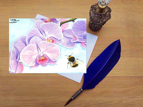 Bee and orchid greetings card.