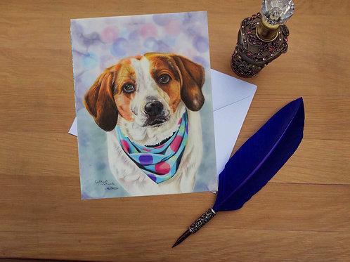 Rosie the beagle greetings card.