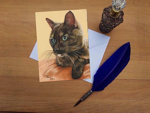 Angel the Tortoiseshell cat greetings card