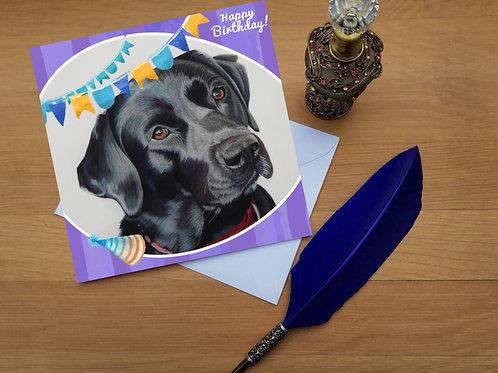 Black Labrador birthday card.