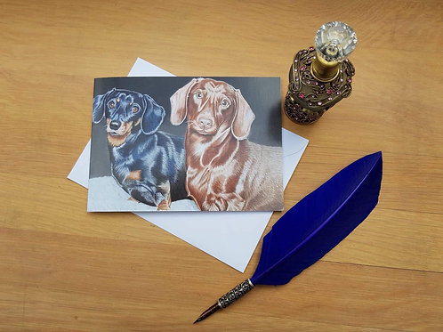 Derek & Doris the Dachshunds greetings card.