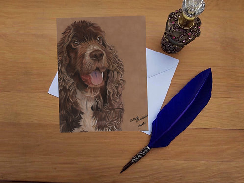 Miles the Cocker Spaniel greetings card.