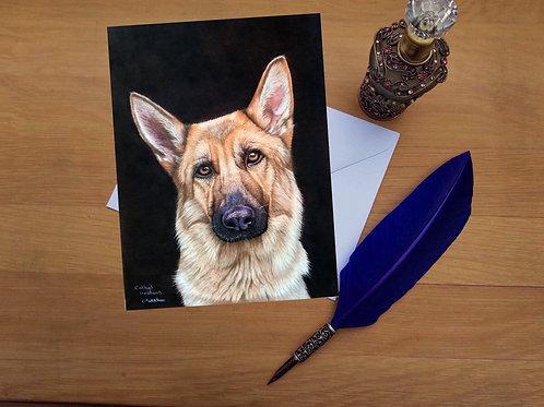 German Shepherd greetings card