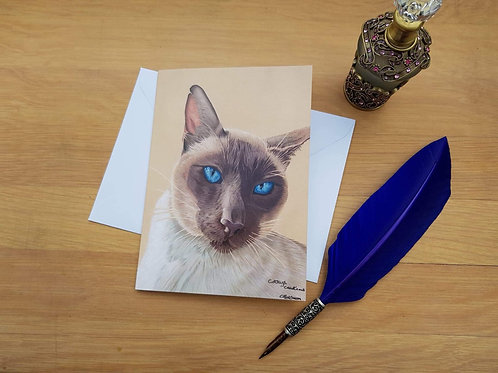 Ol Blue eyes the Siamese cat greetings card.