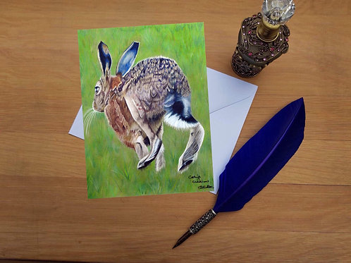 Hare greetings card.