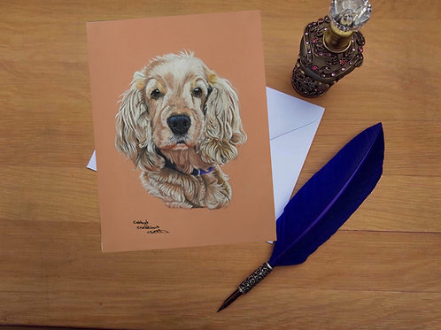 Molly the Golden Cocker Spaniel greetings card.