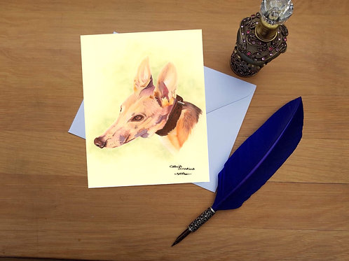 Tim the Greyhound greetings card.