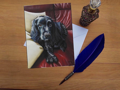 Gypsey the Black Cocker Spaniel greetings card.