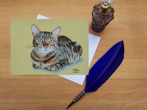 kitty the Bengal cat greetings card.