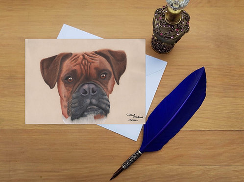 Poppy the Boxer dog greetings card.
