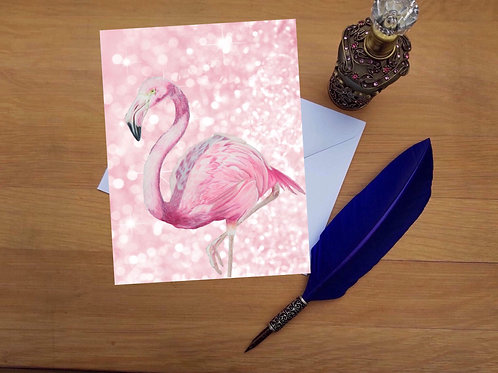 Flamingo greetings card.