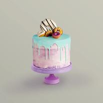 Dekoriert Kuchen mit Donuts