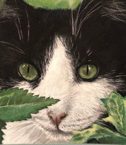 Cat with Leaves