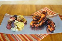 Grilled octopus potato salad and hoisin glazed octopus