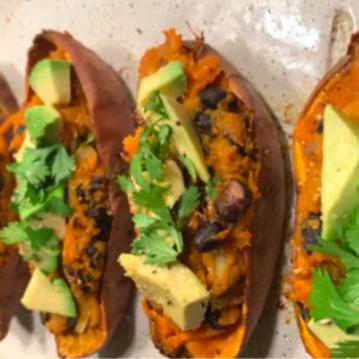 Twice Baked Sweet Potato Burritos With Avocado Lime Dressing