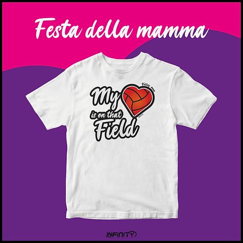 T-shirt 100% cotone Festa della mamma Volley bianca