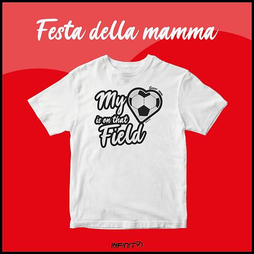 T-shirt 100% cotone Festa della mamma calcio bianca