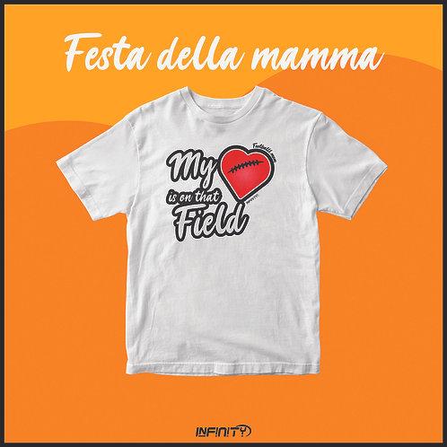 T-shirt 100% cotone Festa della mamma My heart is on that field