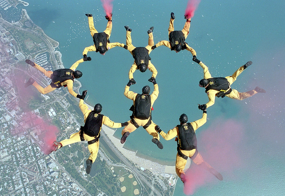 Skydiving Team Linked Up in the Air