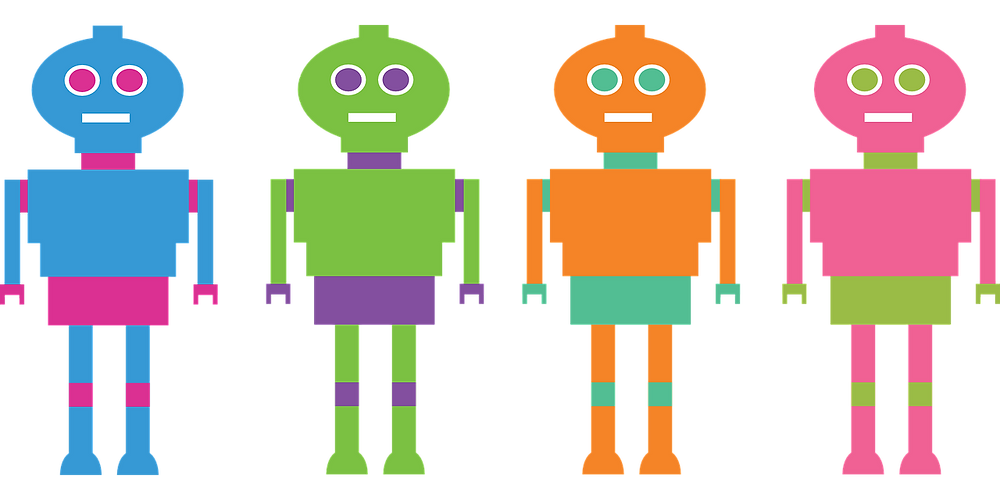 Four Multicolored Robots in a Row