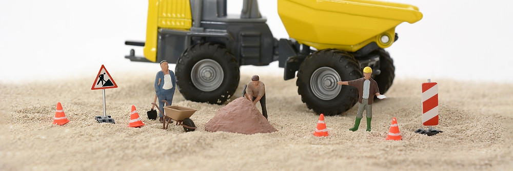 Toys Arrange in a Construction Setting