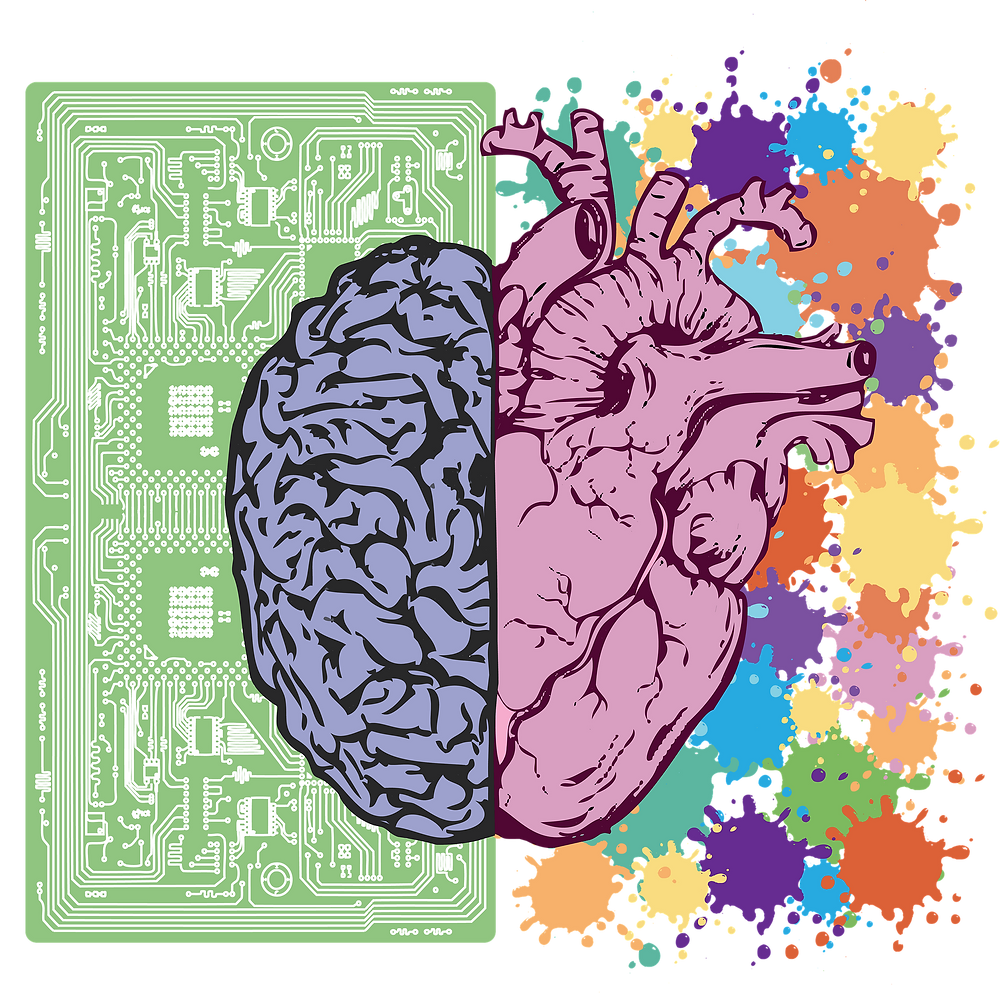 Colorful Image with Heart and Brain