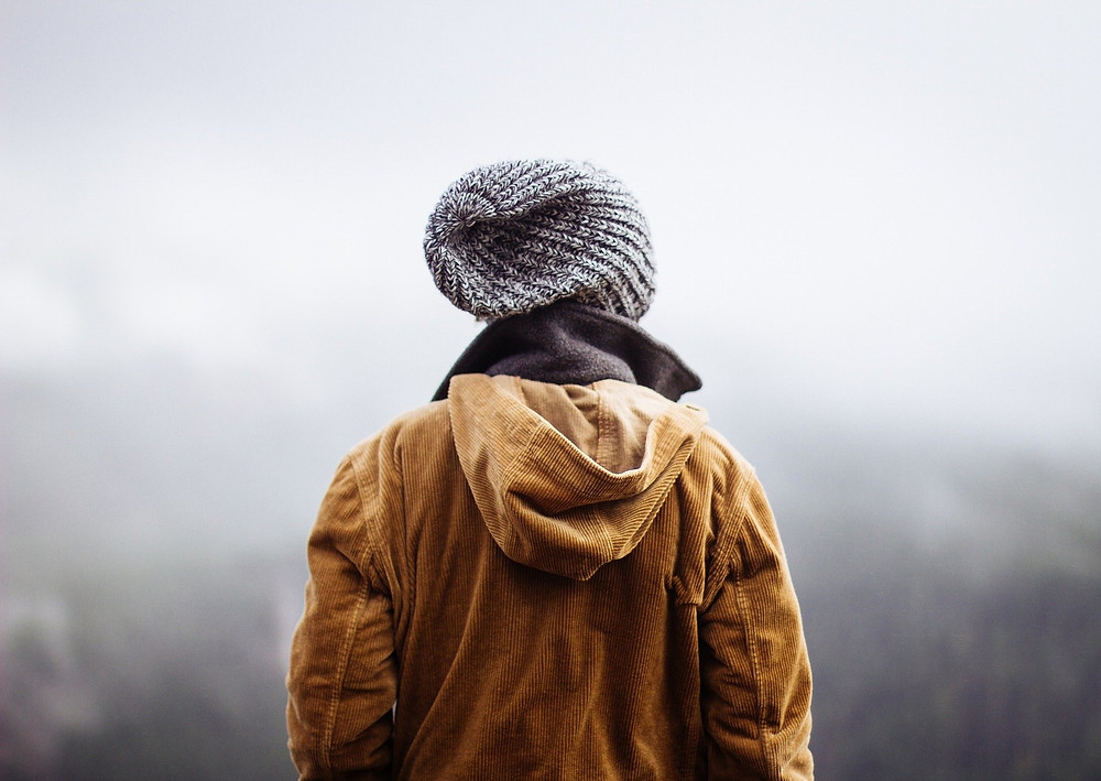 Person from the Back Wearing Winter Clothes