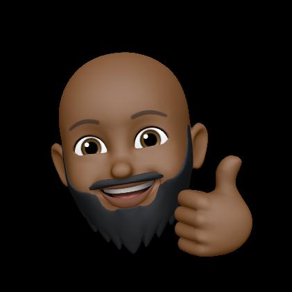 MeMoji of Bald Black Man with a Beard, Thumbs Up