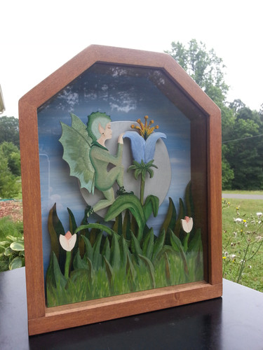Midnight Fairy in Lily Garden Shadow Box