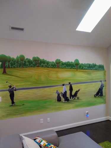 Golf Day Mural full wall view
