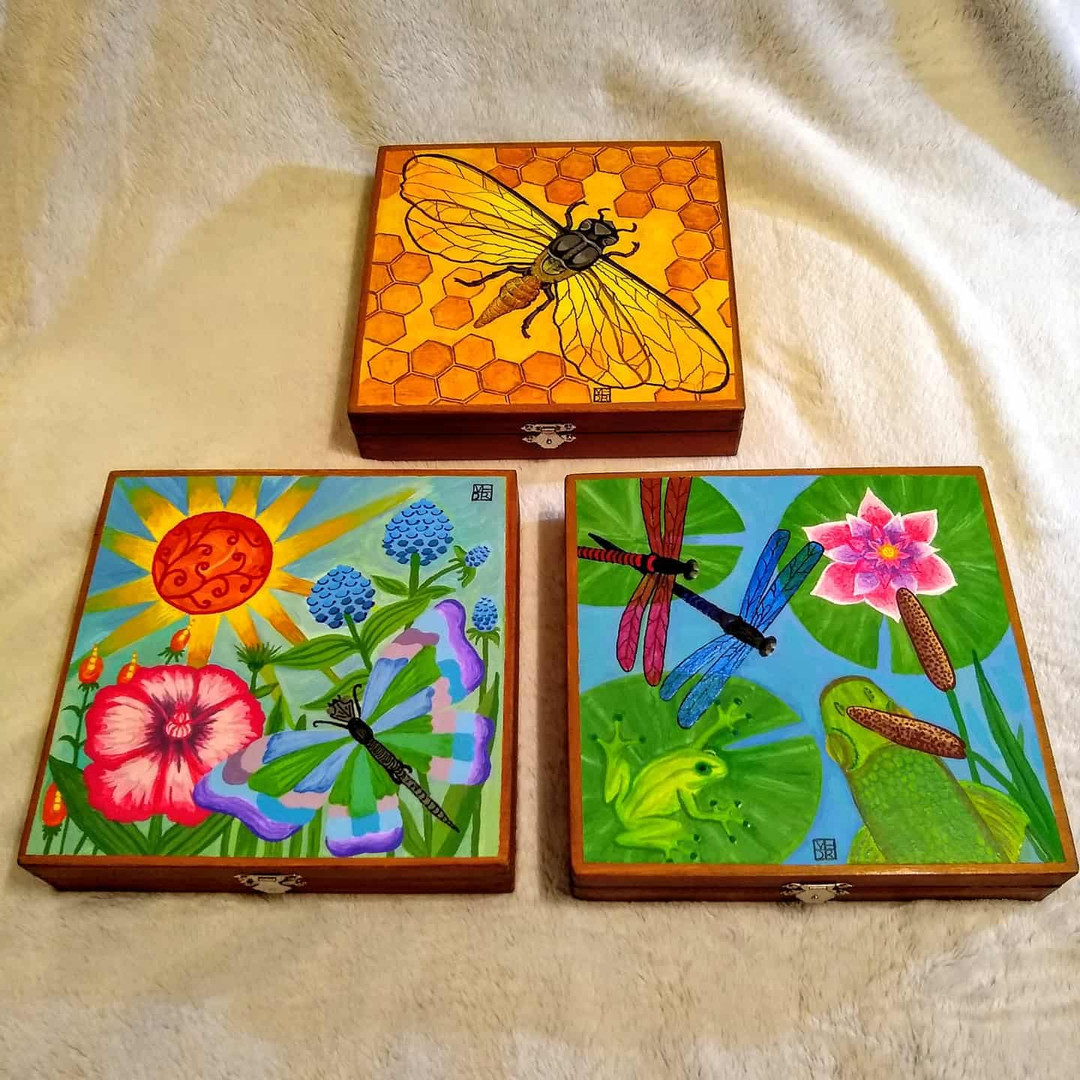 Spring themed Art Boxes