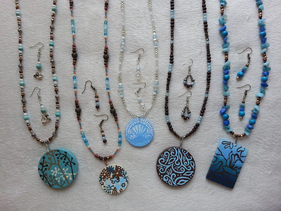 Art Tile Jewelry in Blues