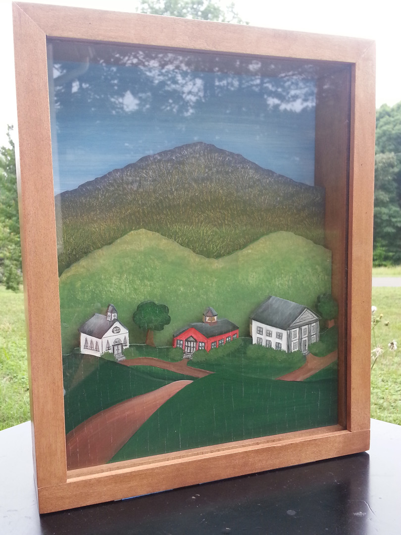 Country Village Shadow Box