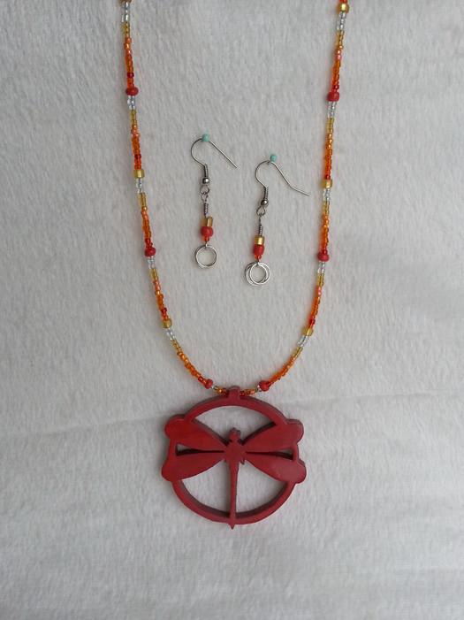 Dragonfly Necklace & Earrings - Orange