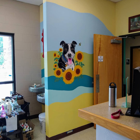 Tasha, Dog Mural, full wall view