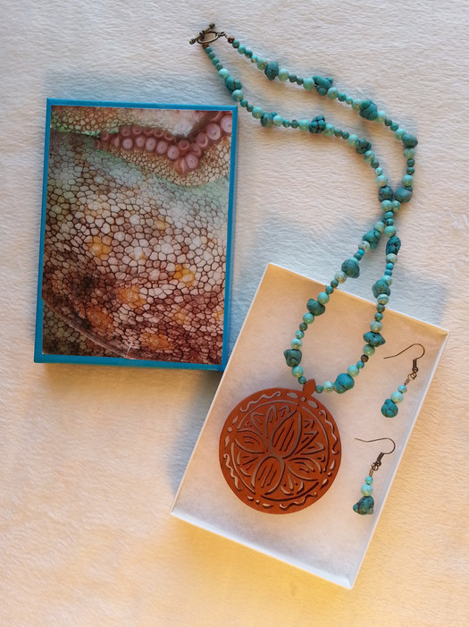 Maple Lotus Flower and Turquoise Jewelry