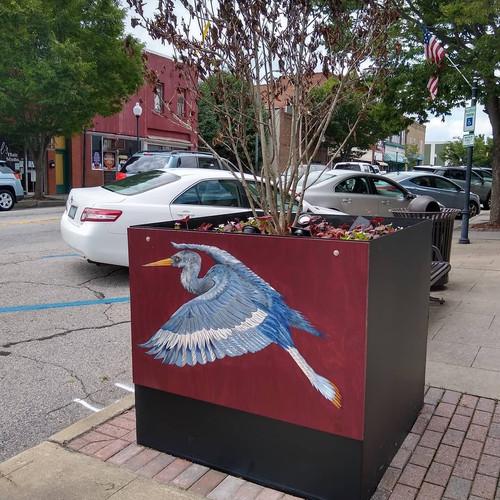 Blue Heron Tree Planter Art