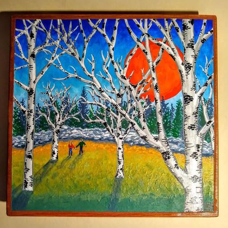 Birches Under a Red Sun