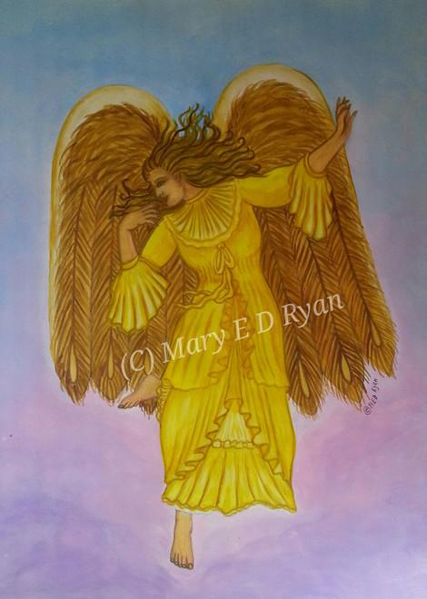 Watercolor Victorian Angel in Yellow