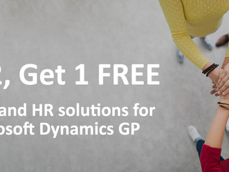 Buy 2, Get 1 Free Integrity Data Payroll & HR Solutions for GP - until Sept 30 2018